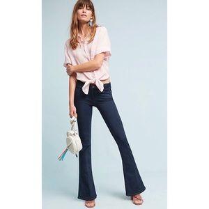 PAIGE Lou Lou Mid Rise Flare Petite Clark Jeans